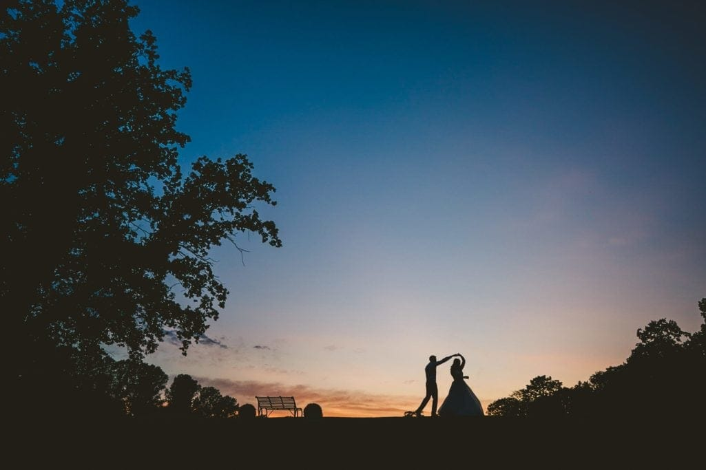 Wedding bride and groom dancing at Oxnead Hall